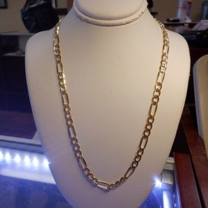 14k real solid yellow gold Figaro 24'inches